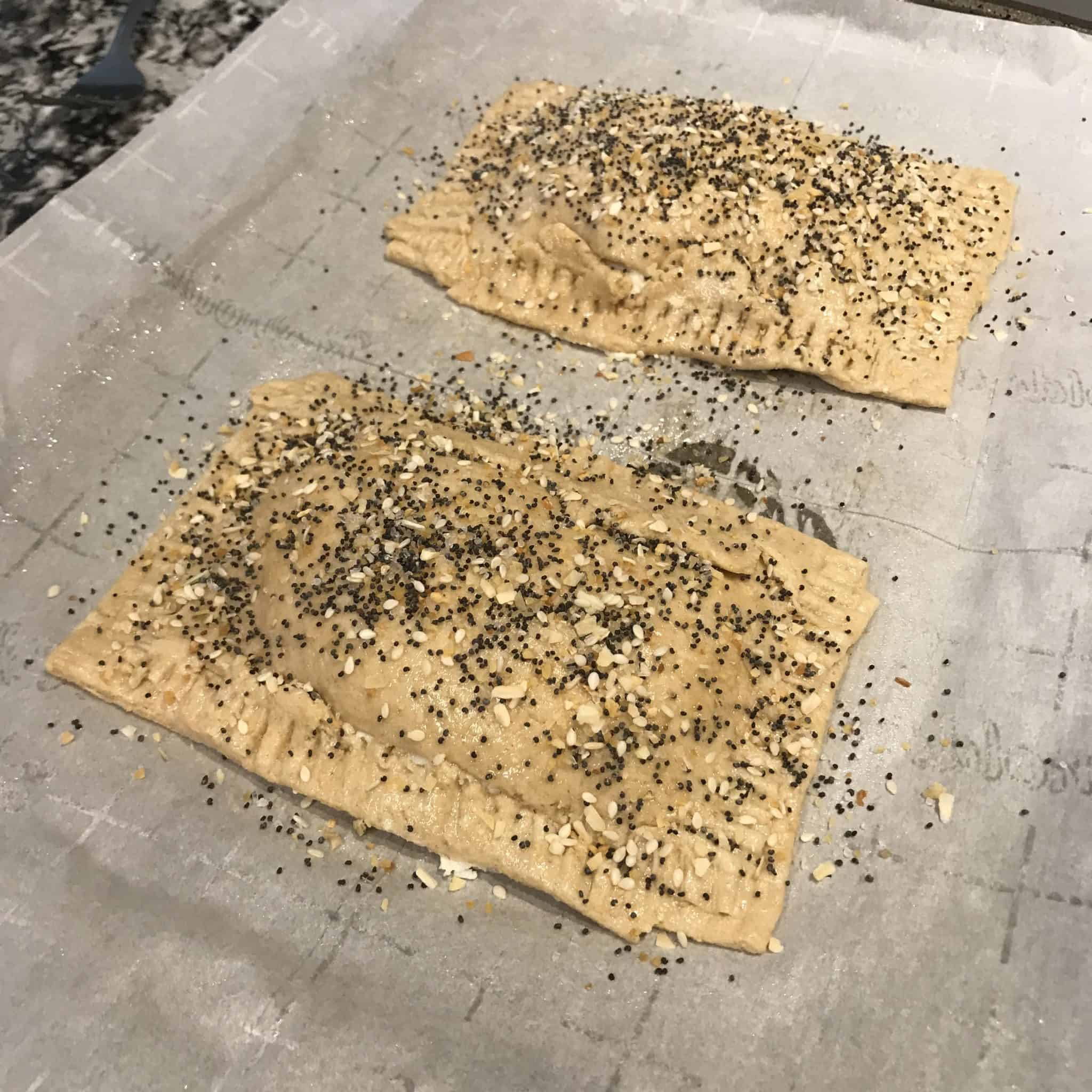 everything bagel protein pop tarts before baking