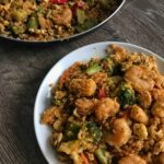 honey sriracha shrimp fried cauliflower rice