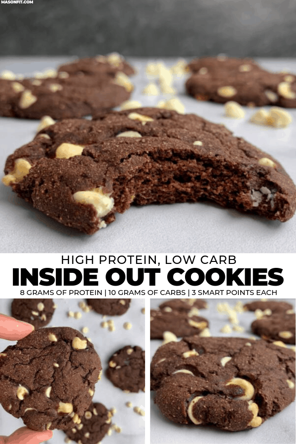A 20-minute recipe for chocolate protein cookies stuffed with white chocolate chips. Each cookie has 8 grams of protein, 10 grams of carbs, 3 grams of fat, and just 95 calories!
