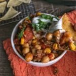 instant pot chickpea and chorizo taco soup