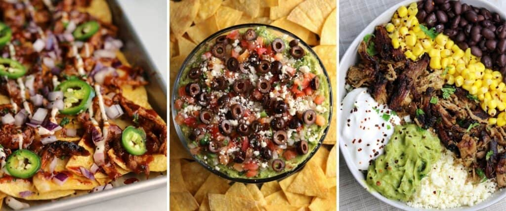 pulled pork nachos, tortilla chips with layer dip, and pork tenderloin carnitas bowls