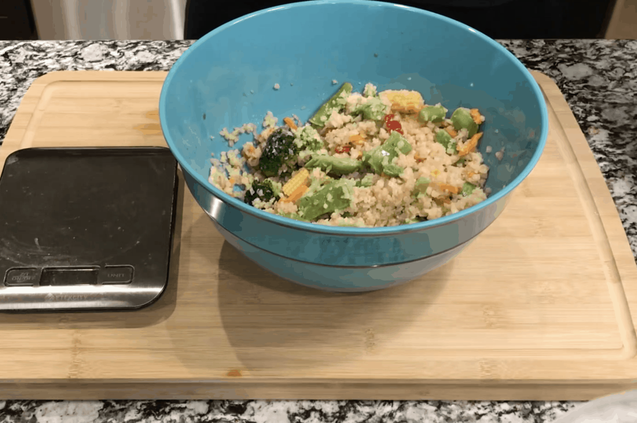 vegetables and cauliflower rice in soy sauce