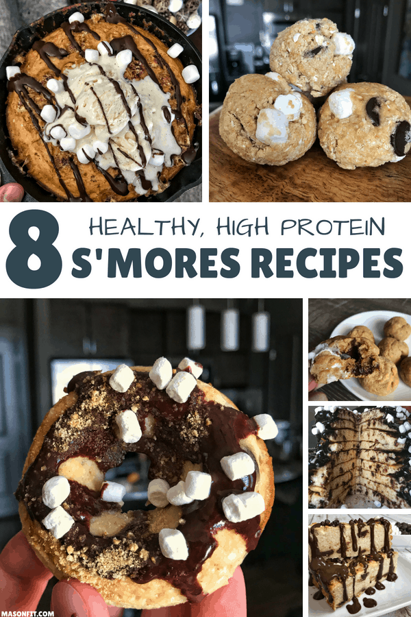 My most popular healthy s'mores recipes ranging from stuffed protein cookies and mug brownies to protein donuts and pancakes.