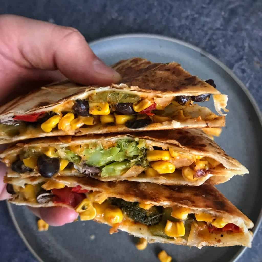 Tex-Mex Easy Roasted Vegetables Quesadilla