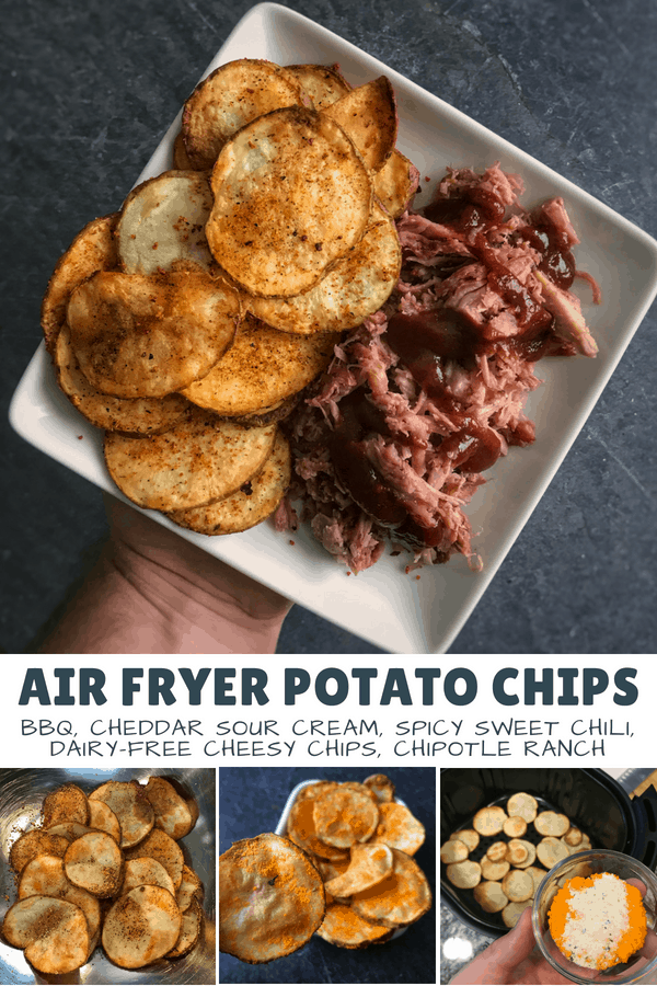 A quick and easy way to make air fryer potato chips and five different seasoning combos to make your healthy snacks taste like your favorites.