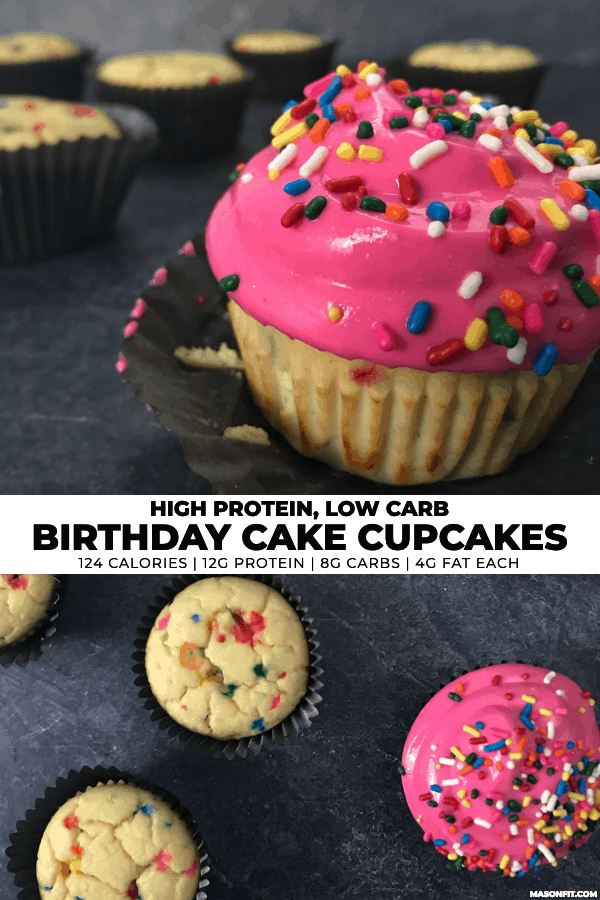two photos of birthday cake cupcakes with title text on a center banner