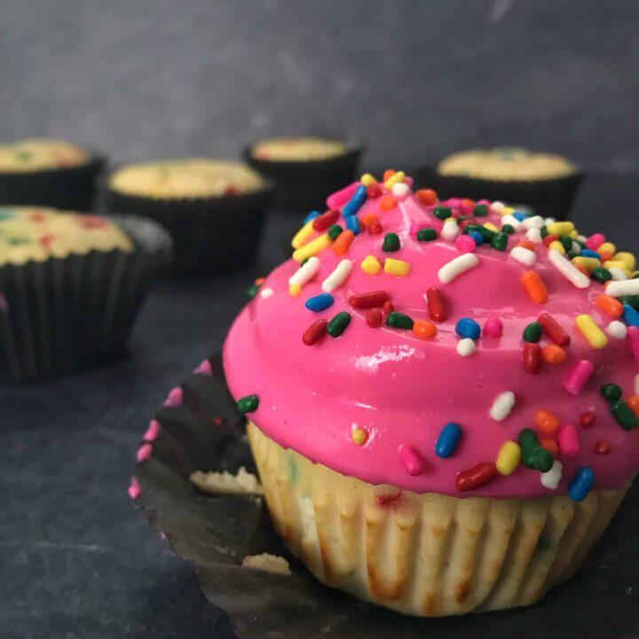 birthday cake protein cupcakes unwrapped