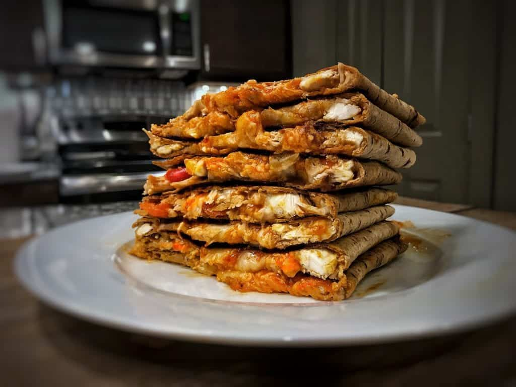 buffalo chicken quesadilla using rotisserie chicken