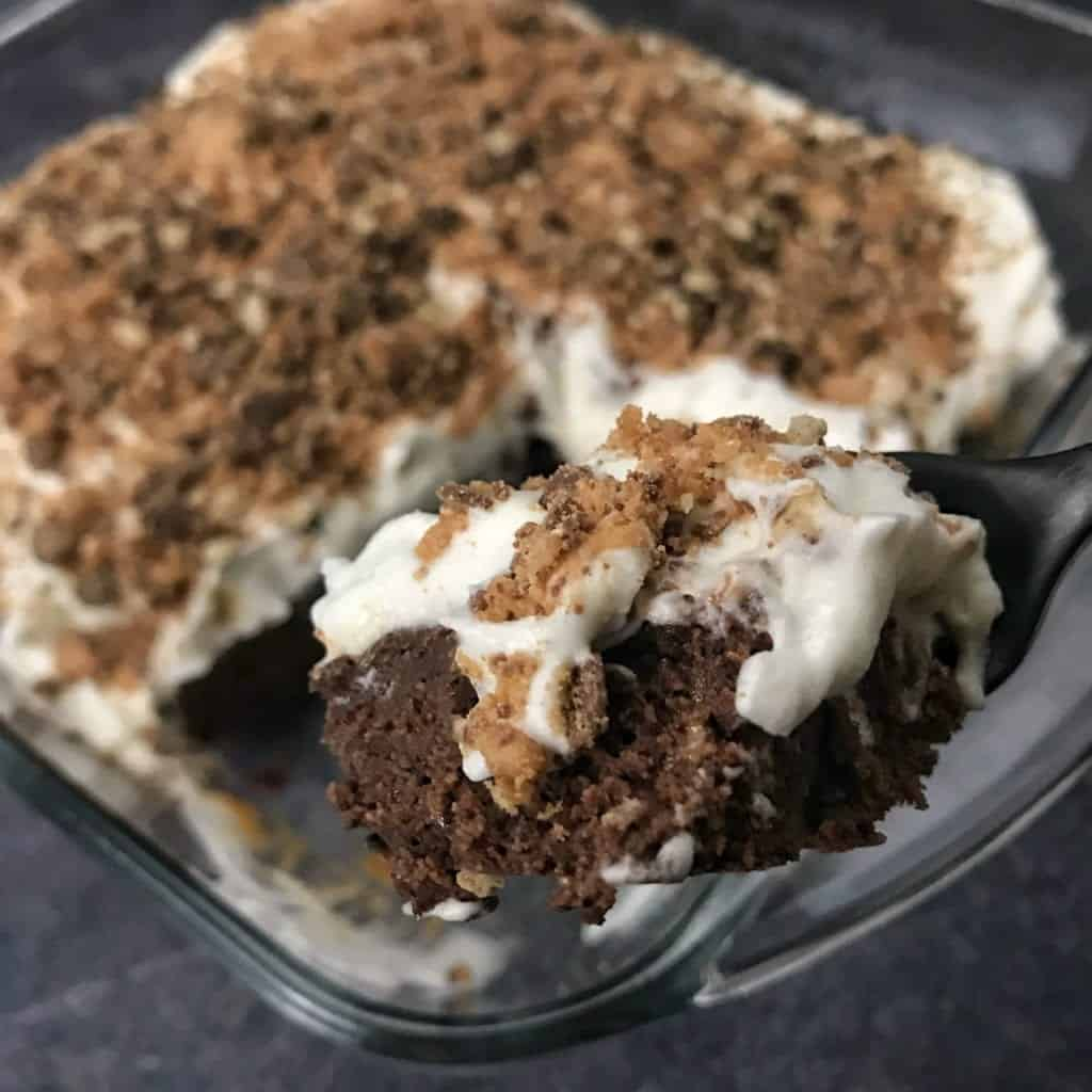 chocolate caramel protein brownies recipe on fork