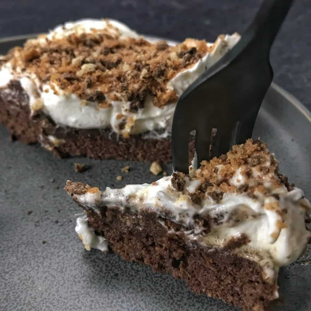 chocolate caramel protein brownies recipe with fork