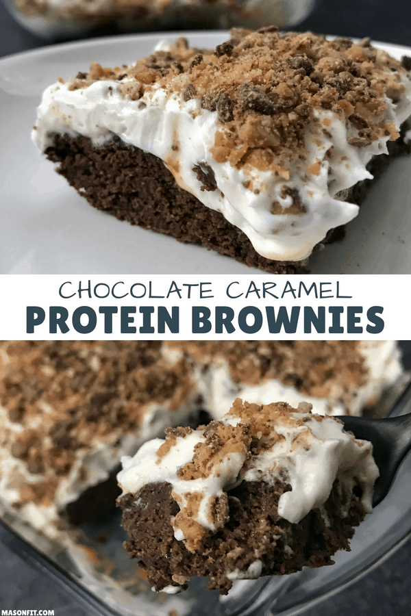 Super simple chocolate caramel protein brownies topped with whipped cream and toffee bits. Each brownie has 10 grams of protein and only 20 grams of carbs.