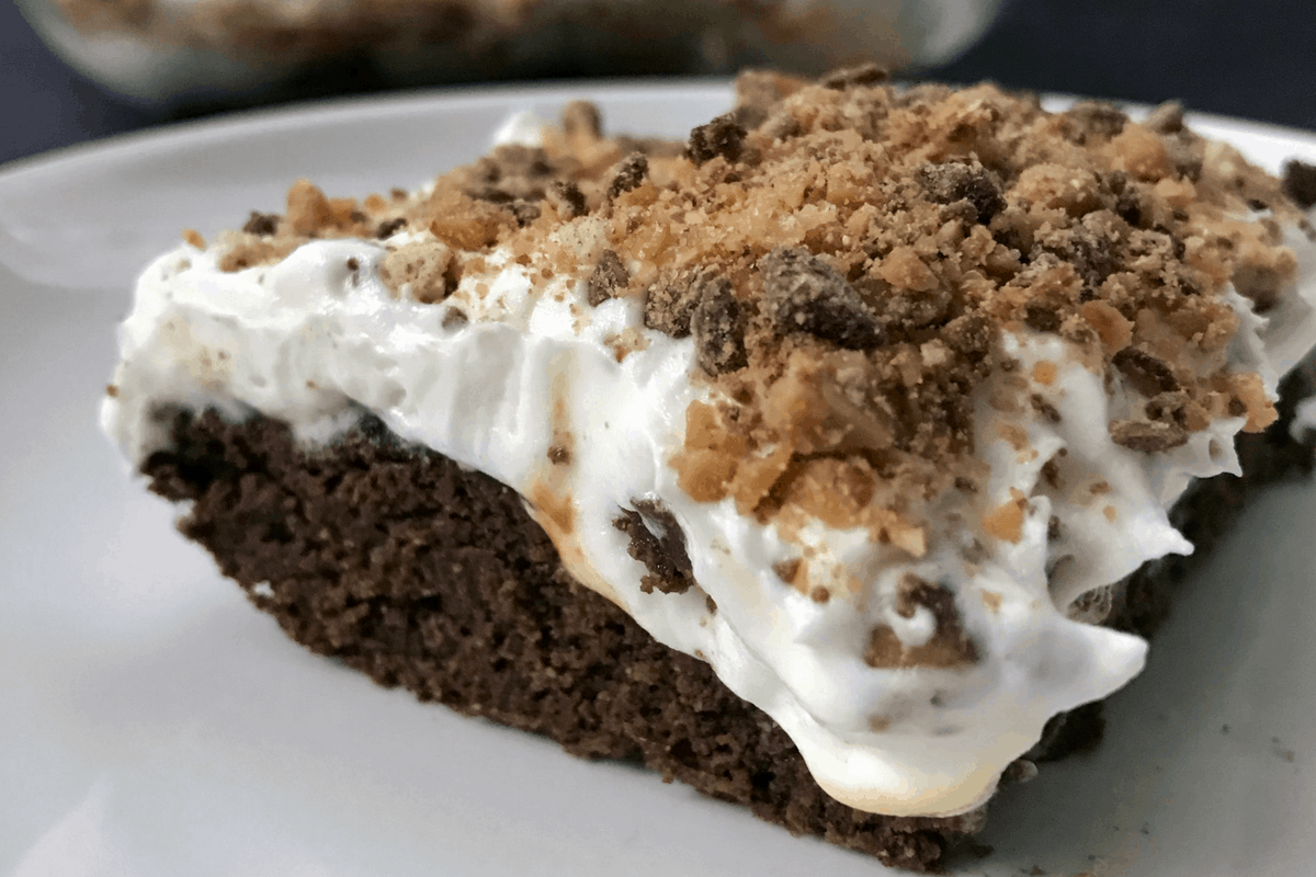 Chocolate Caramel Protein Brownies with Whipped Cream and Toffee Bits