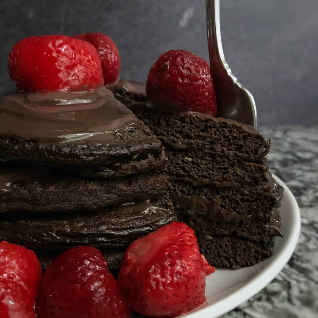 easy chocolate protein pancakes