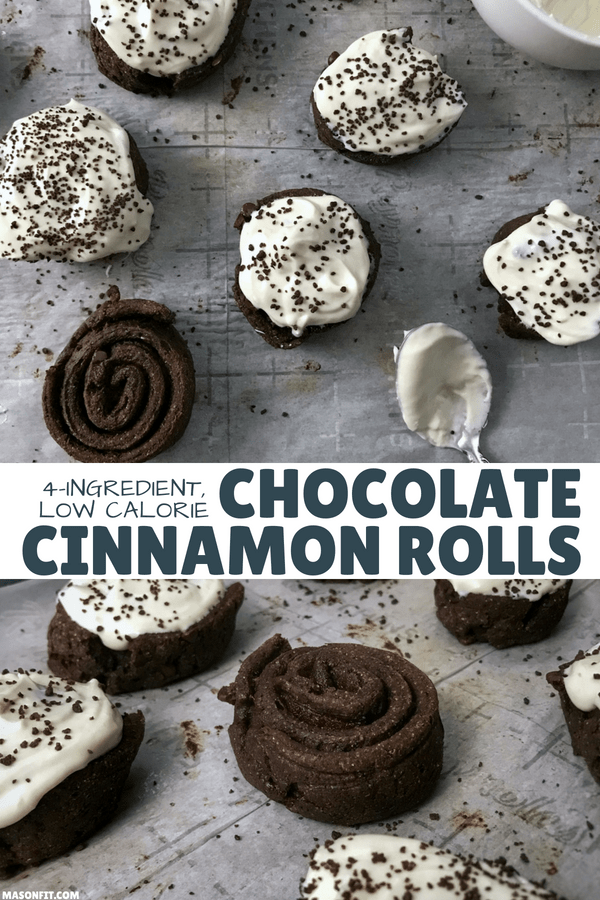 You're going to love these 4-ingredient healthier chocolate cinnamon rolls with cream cheese frosting. They're super easy to make and each cinnamon roll has 12 grams of protein and only 137 calories.