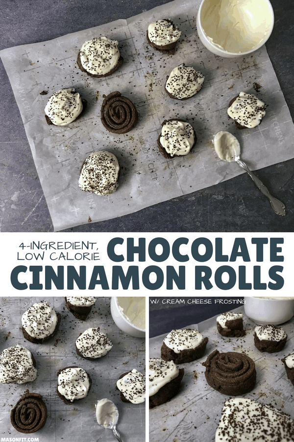 A 4-ingredient healthier chocolate cinnamon rolls recipe with cream cheese frosting. Each cinnamon roll has 12 grams of protein and fewer than 140 calories.