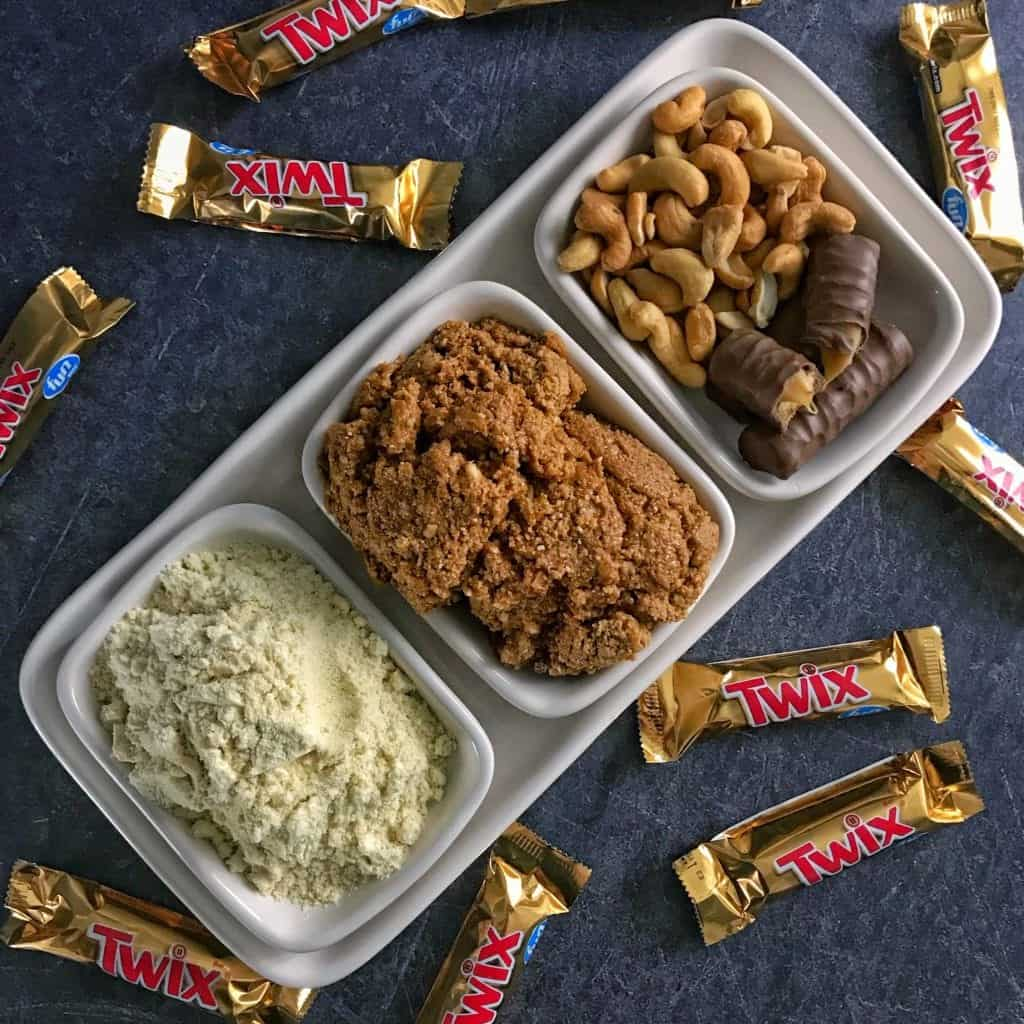 overhead photo of twix protein cookie butter ingredients