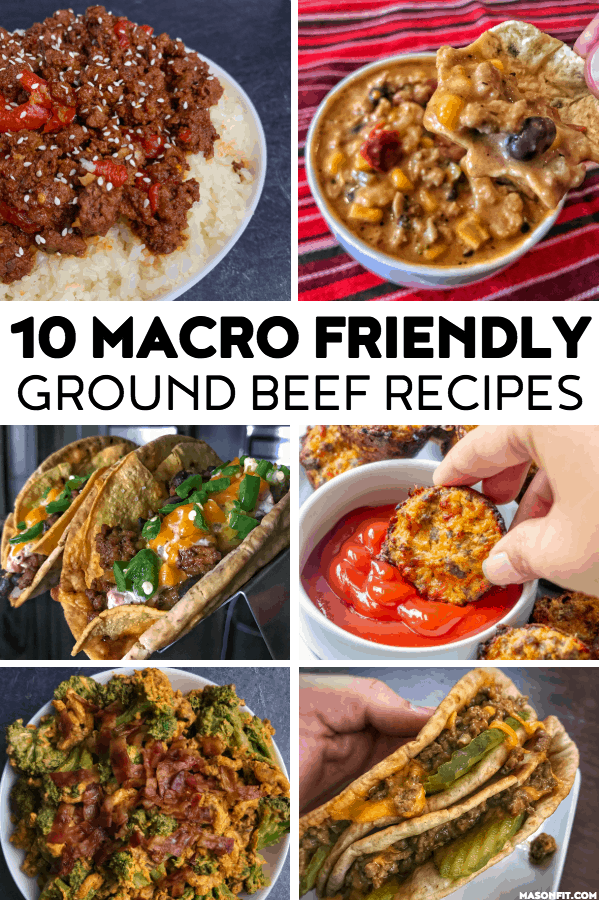 A roundup of macro friendly ground beef recipes like cheeseburger bites, taco soup, beef and broccoli, Korean beef, sloppy joes, cheese dip, and more.