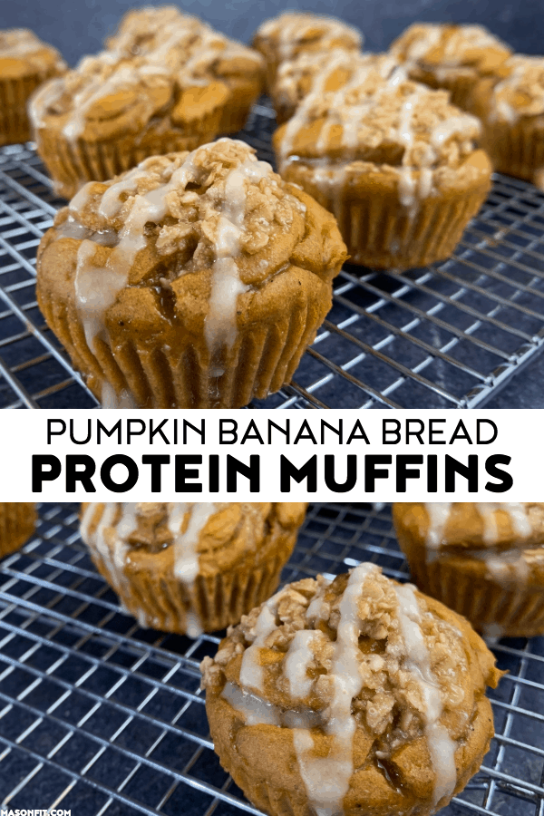 A recipe for super moist and tender protein muffins with a candied walnut streusel and sugar free glaze. Each muffin has over 10 grams of protein!