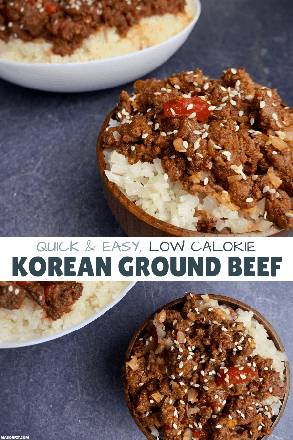 A simple Korean Ground Beef recipe to pair with cauliflower rice or mixed vegetables for a low carb, high volume, high protein meal.