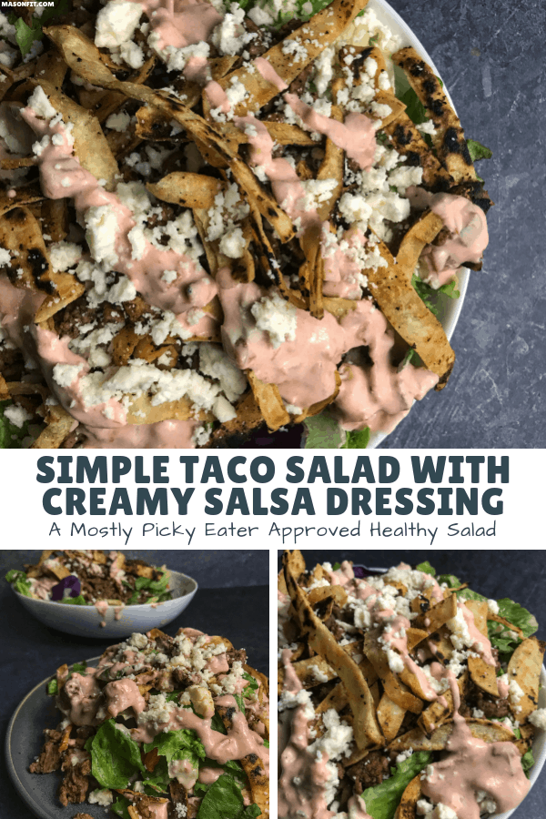 Spice up your life with this simple healthy taco salad recipe featuring spicy beef, pan fried tortilla strips, and a creamy salsa dressing.