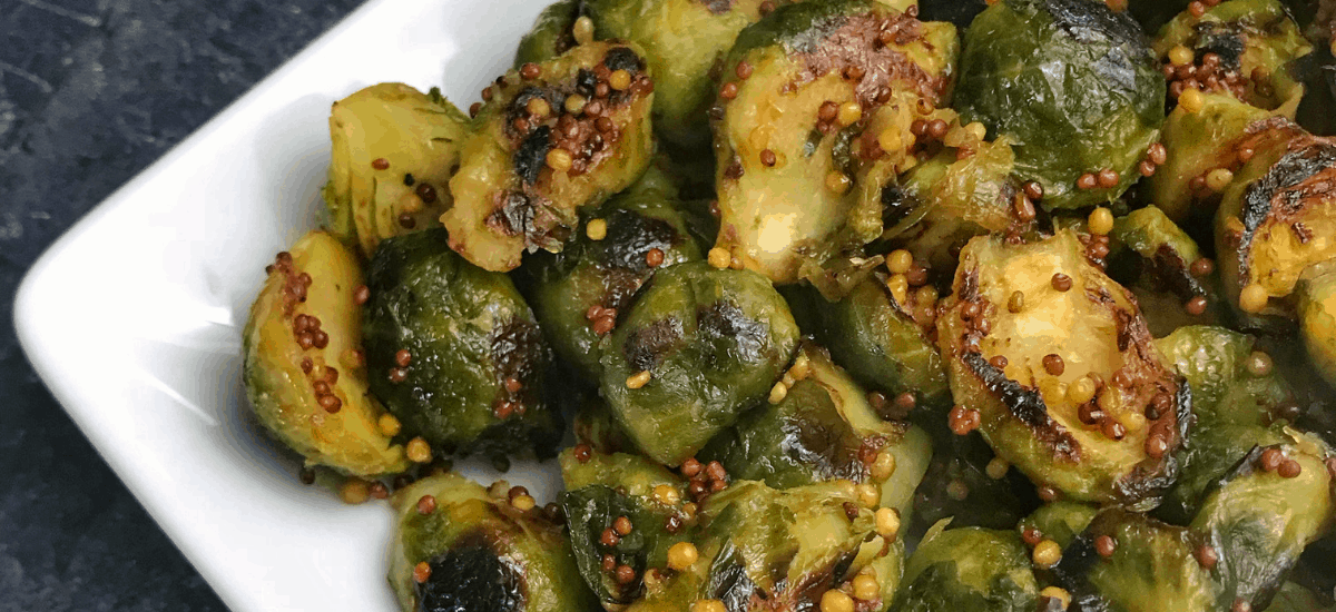 Honey Mustard Pan Roasted Brussels Sprouts