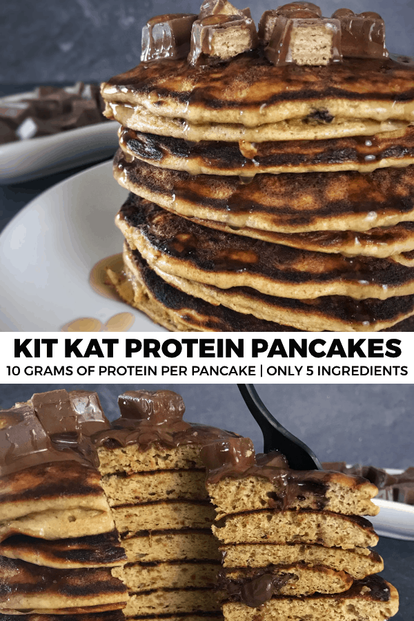 Make low calorie eating fun with these quick and easy Kit Kat protein pancakes. Each pancake has roughly 10 grams of protein and is stuffed with real Kit Kat bars.
