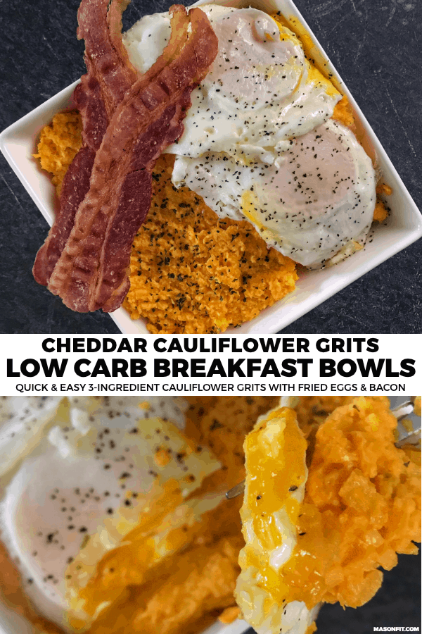 A 3-ingredient recipe for low carb cauliflower grits that are perfect for breakfast bowls or any low carb breakfast set up.