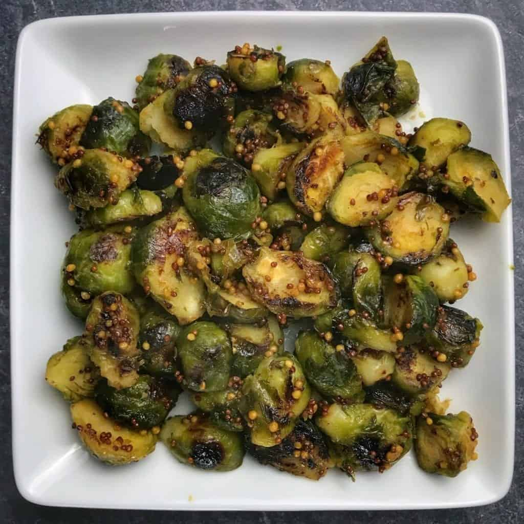 pan roasted honey mustard brussels sprouts