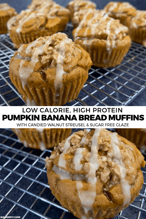 You'll never believe these pumpkin banana bread protein muffins are healthy. With a candied walnut streusel and sugar free glaze, they're loaded with flavor and the perfect amount of texture. Each muffin has 11 grams of protein and 120-140 calories depending on your choice of toppings.