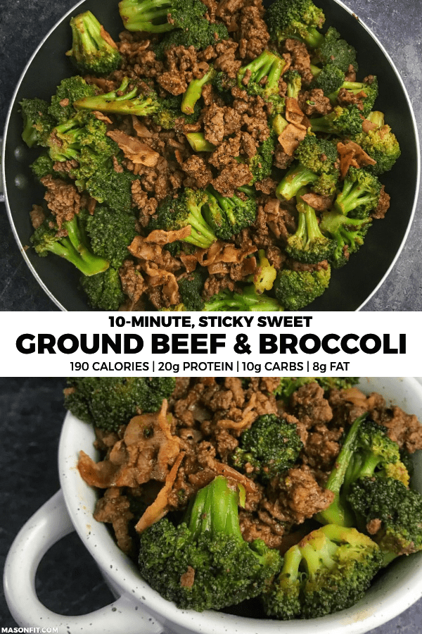 This one-pan, 10-minute ground beef and broccoli recipe packs tons of flavor and protein into every bite. Each serving has 20 grams of protein, only 10 grams of carbs, and is picky eater approved if you pick the pesky broccoli out.