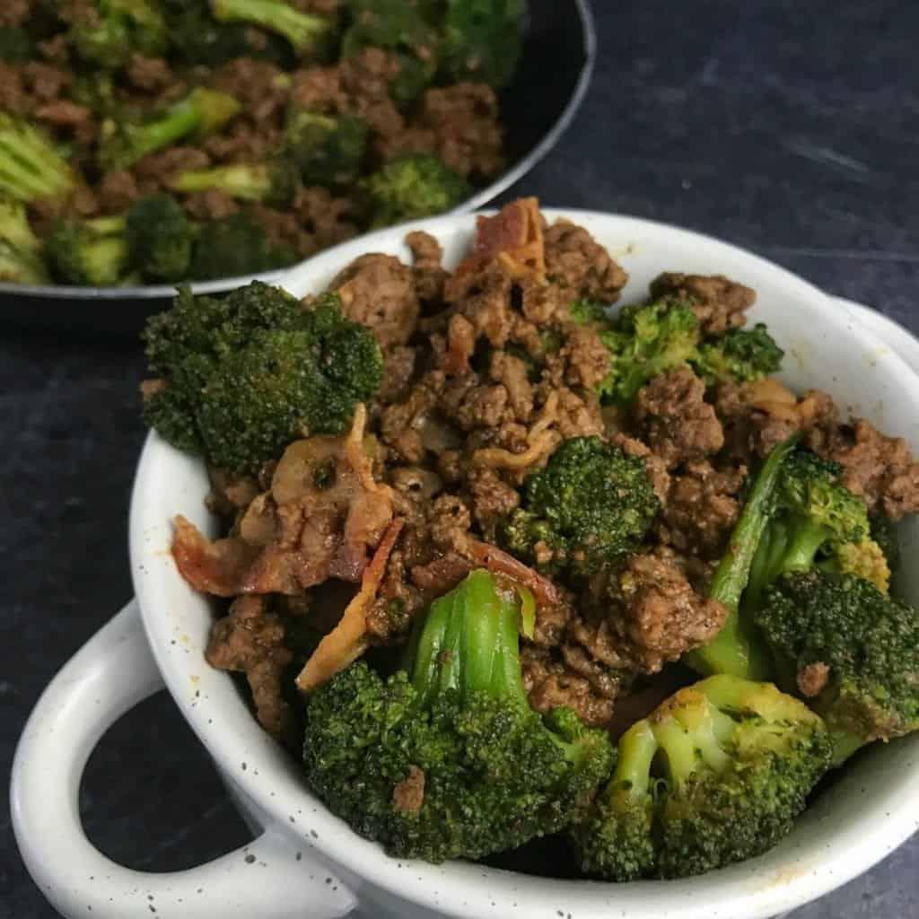 sticky sweet ground beef and broccoli