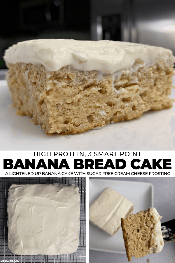 A simple recipe for sugar free cream cheese frosted banana bread cake with 9 grams of protein, 125 calories, and 3 Smart Points per slice.