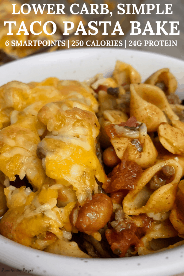 A super easy to make taco pasta bake with tons of protein and just 6 Freestyle Points per serving. This is an awesome meal prep recipe or a quick dinner to feed the whole crew.
