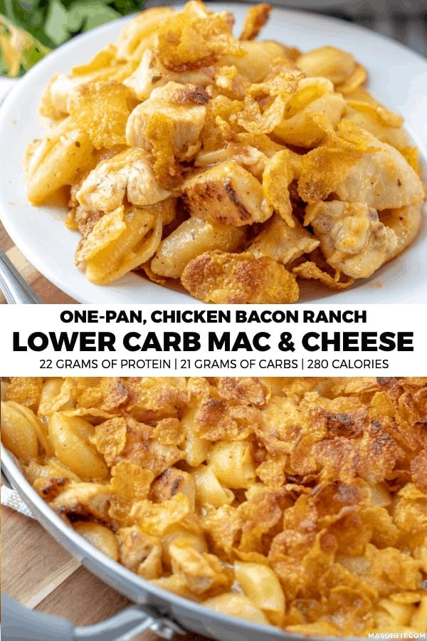 This high protein, low carb chicken bacon ranch mac and cheese is loaded with pan fried ranch chicken, cheddar cheese, and bacon. What's not to love?