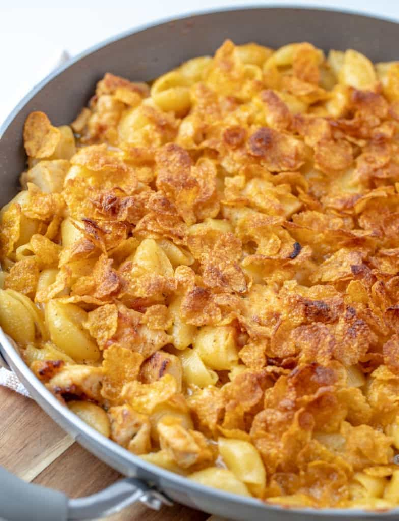 chicken bacon ranch mac and cheese in a skillet