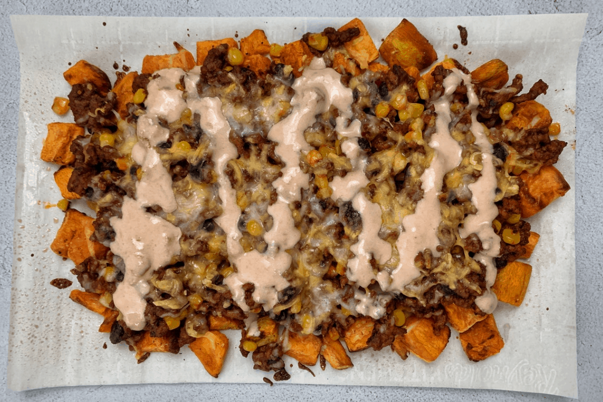 Sweet Potato Nachos with Chipotle Beef