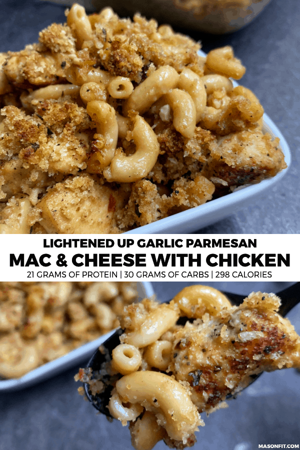 A lower calorie recipe for garlic parmesan mac and cheese with chicken that pairs cheesy macaroni with pan fried chicken and crispy Italian breadcrumbs.