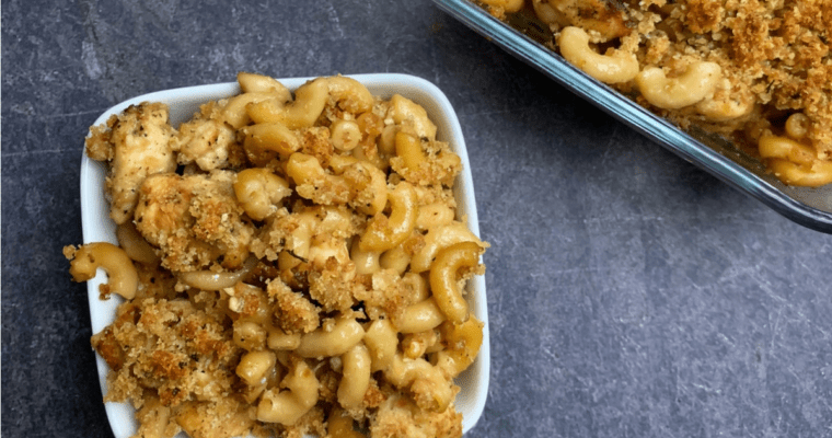 garlic parmesan mac and cheese with chicken
