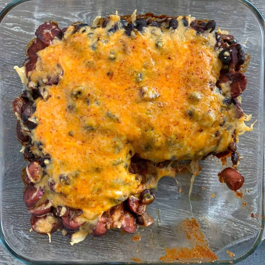 healthy chili dog tater tot casserole