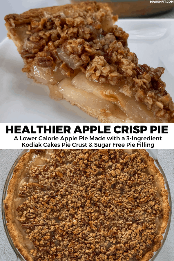 A healthier apple crisp pie made with a 3-ingredient Kodiak Cakes pie crust, sugar free apple pie filling, and a sweet and nutty crisp topping.