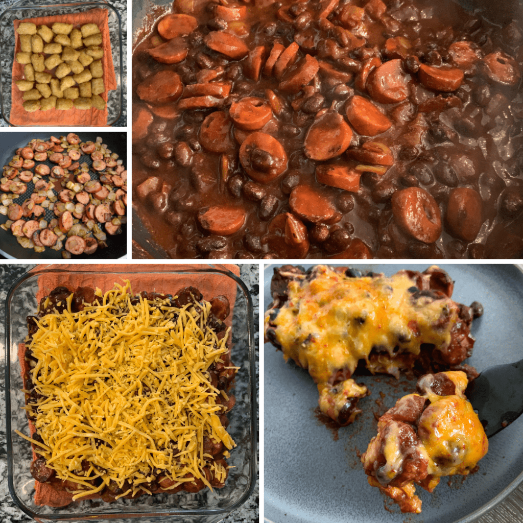how to make chili dog tater tot casserole