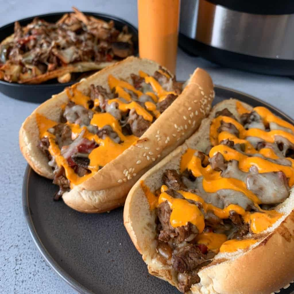 instant pot cheesesteak sandwiches