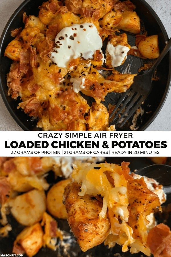 Put your air fryer to good use with this loaded cheddar and bacon air fried chicken and potatoes recipe. It makes for a quick and easy dinner for two with 37 grams of protein, 330 calories, and 7 Smart Points per serving.
