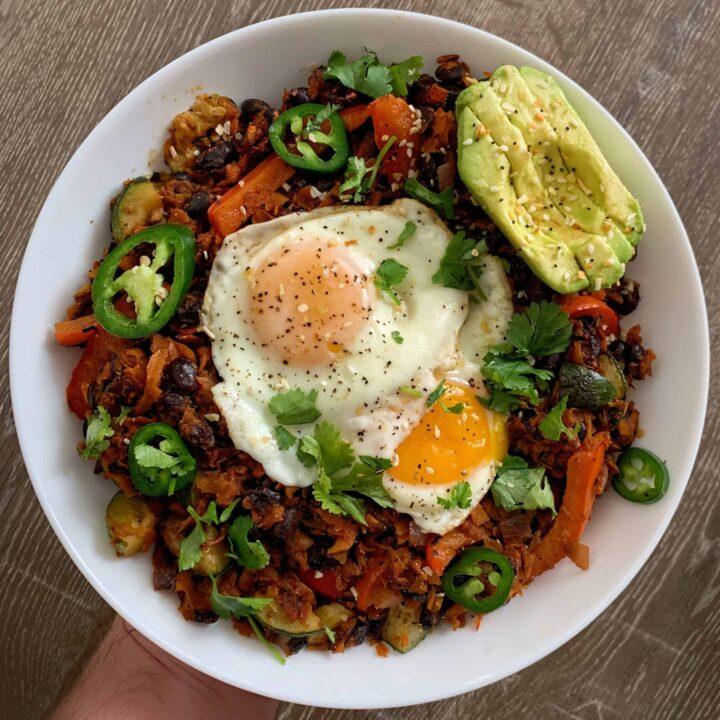 healthy southwest sweet potato breakfast hash recipe
