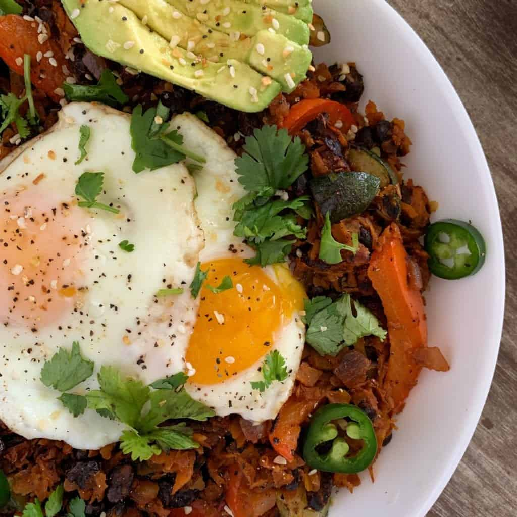 sweet potato breakfast hash recipe up close