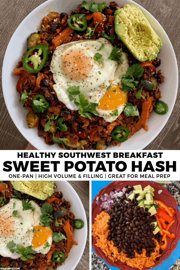 Need breakfast meal prep ideas? You'll love this one-pan sweet potato breakfast hash! It's loaded with high quality carbs, healthy amounts of protein and fiber, and has no added oils.
