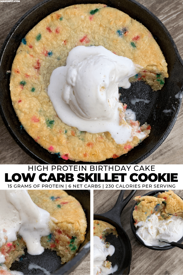 A simple low carb skillet cookie recipe with 15 grams of protein, 6 net carbs, and 230 calories per serving.