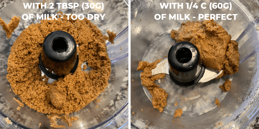 cookie butter side by side showing how much liquid to add