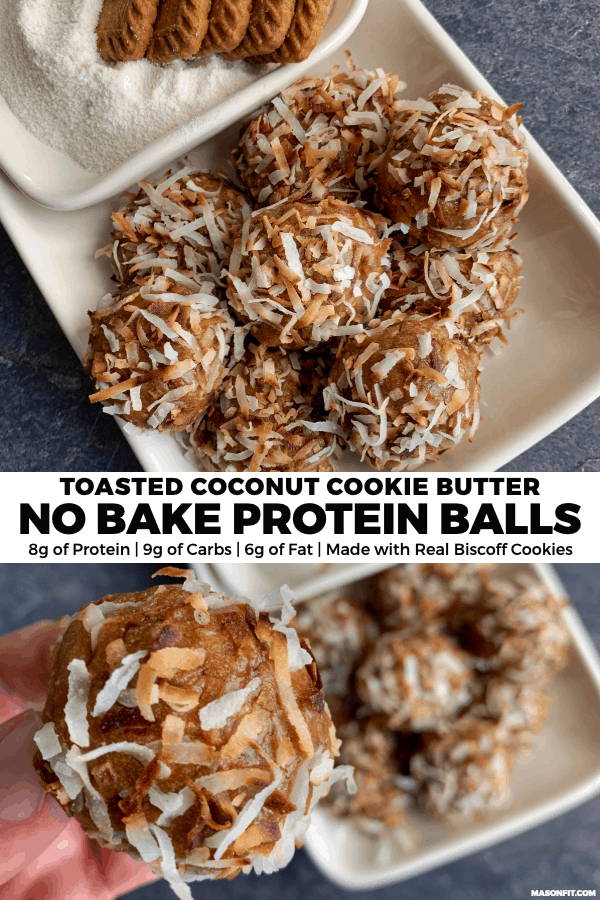 You'll love these 5-ingredient protein balls made with a Speculoos copycat cookie butter and toasted coconut flakes. They're easy to make and perfect for a healthy sweets fix, pre or post workout snack, or grab n go treat.