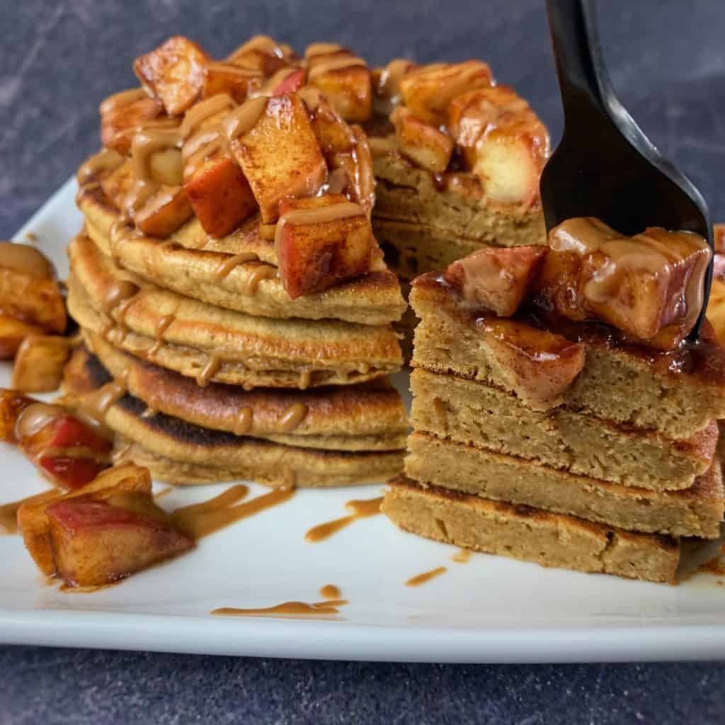 cookie butter protein powder pancakes with sauteed apples